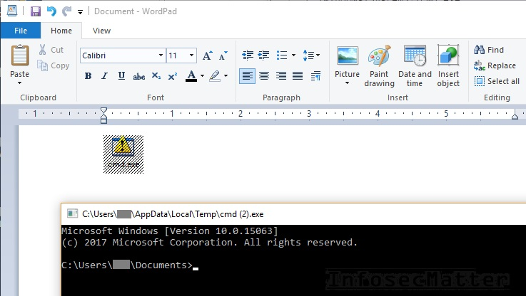 bypass restrictions via wordpad run imported cmd object spawned shell